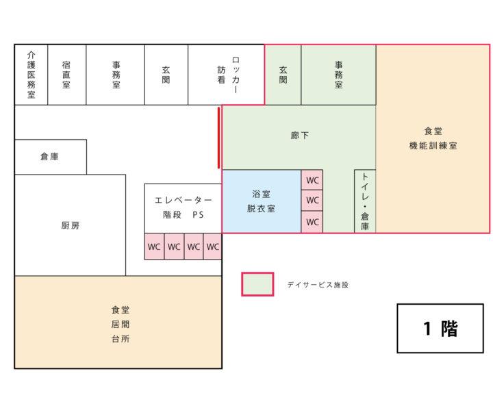 楽久陽施設1階部分図面